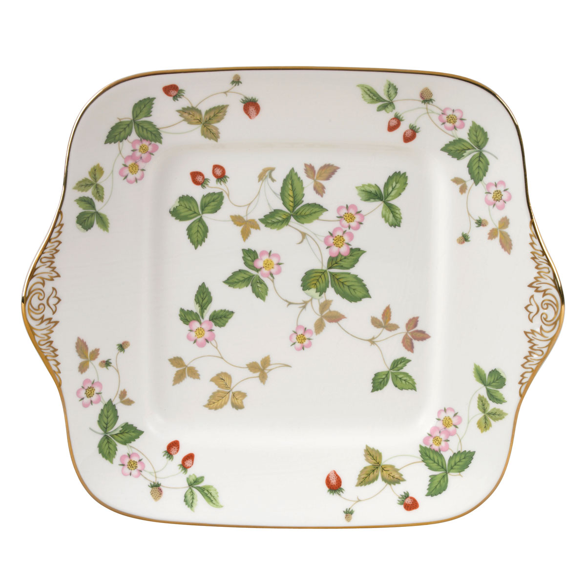 "Wedgwood Wild Strawberry Cake Plate Square 10.75"""