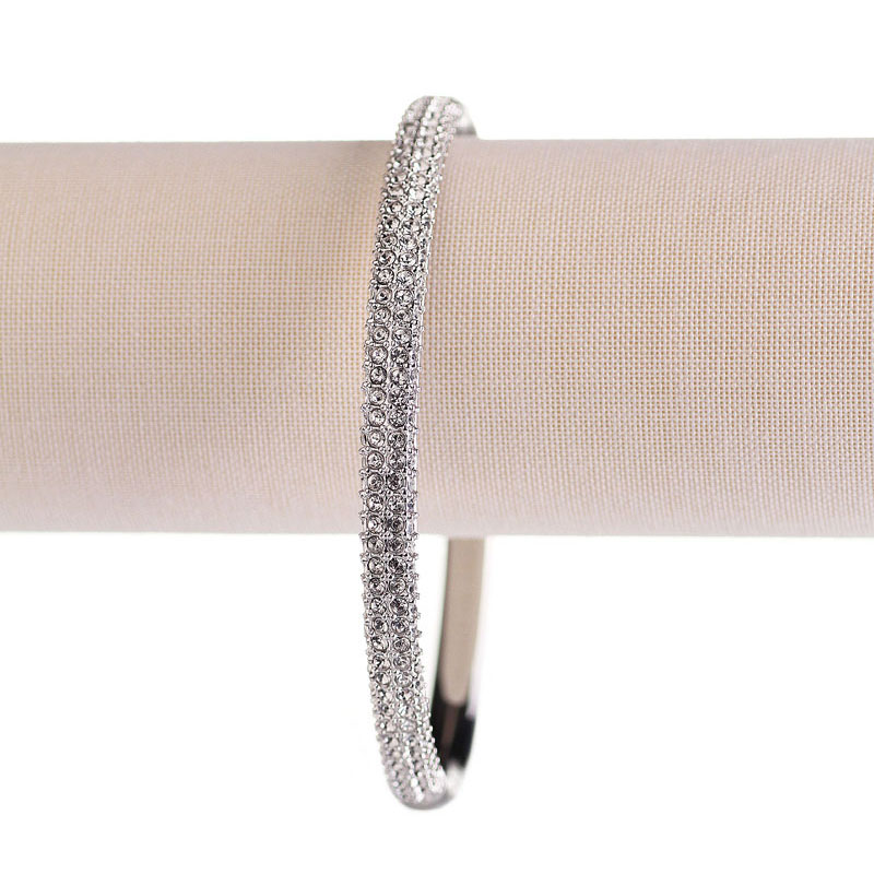 Swarovski Rhodium and Crystal Stone Bangle Bracelet