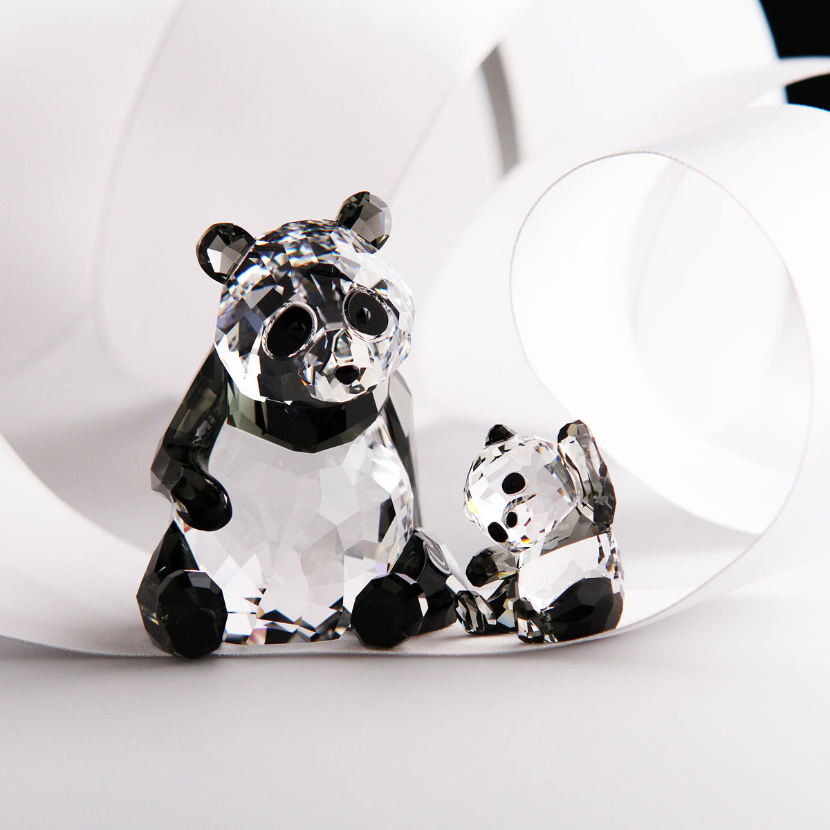 Swarovski Crystal Panda Mother With Baby