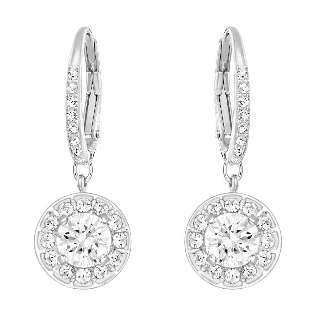 Swarovski Attract Earrings, White, Rhodium