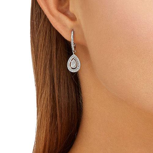 Swarovski Attract Pearl Pierced Earrings, White, Rhodium