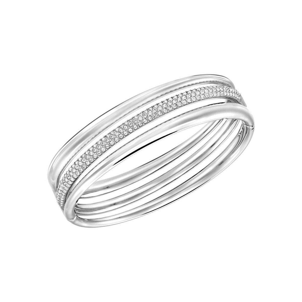 Swarovski Exact Crystal and Rhodium Bangle Bracelet