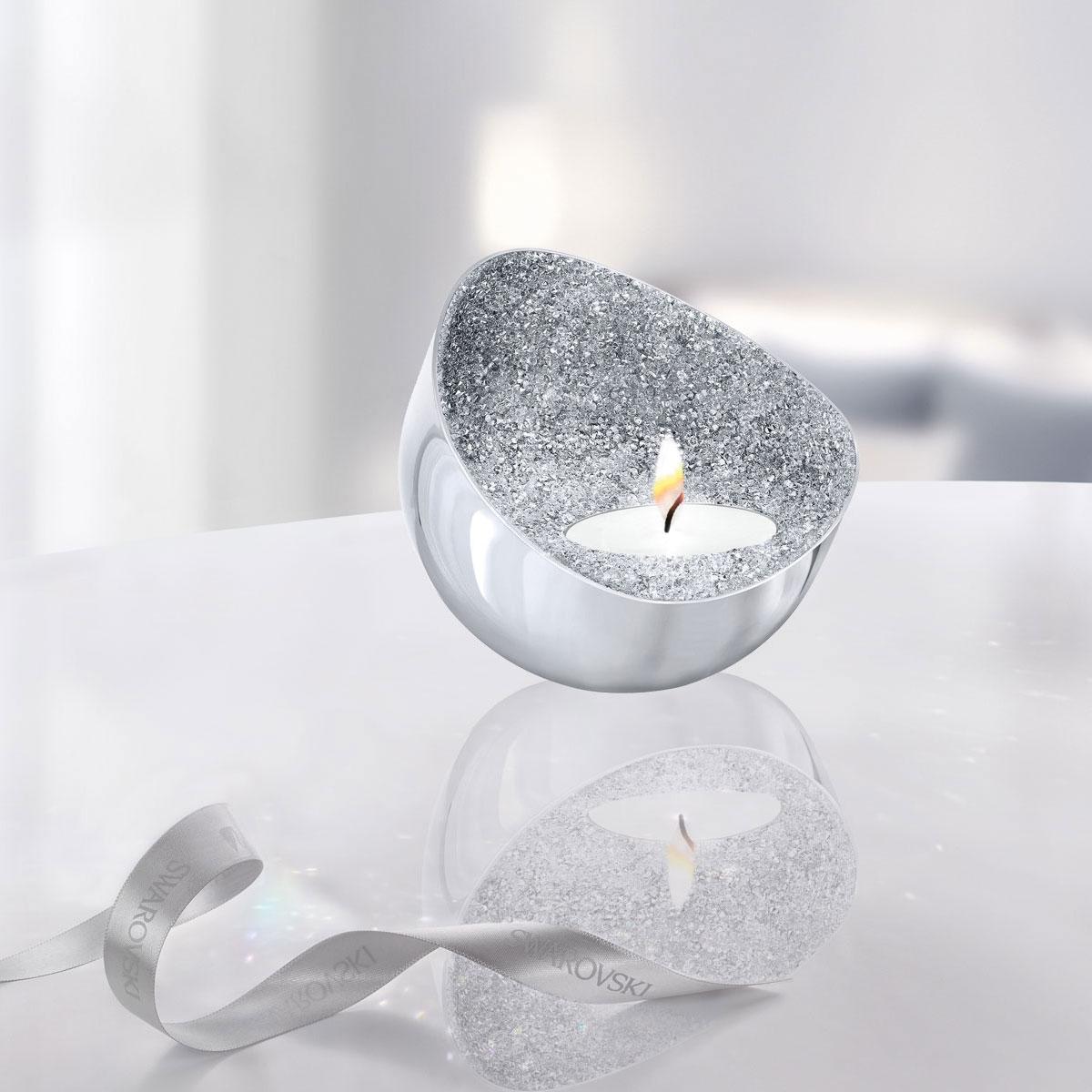 Swarovski Crystal Minera Tea Light Holder, Silver Tone