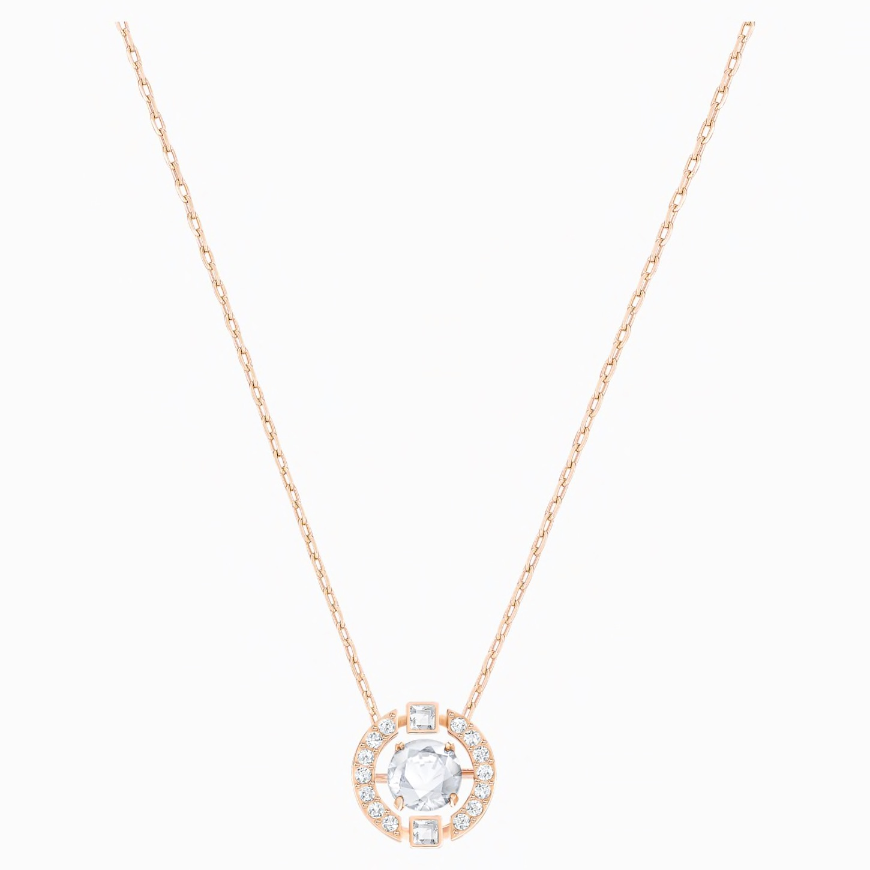 Swarovski Sparkling Dance Heart Necklace, White, Rose Gold