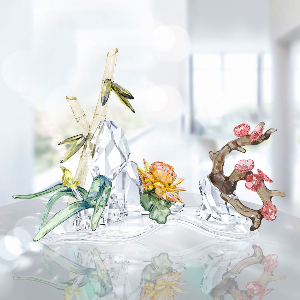 Swarovski Asian icons Four Noble Plants Sculpture
