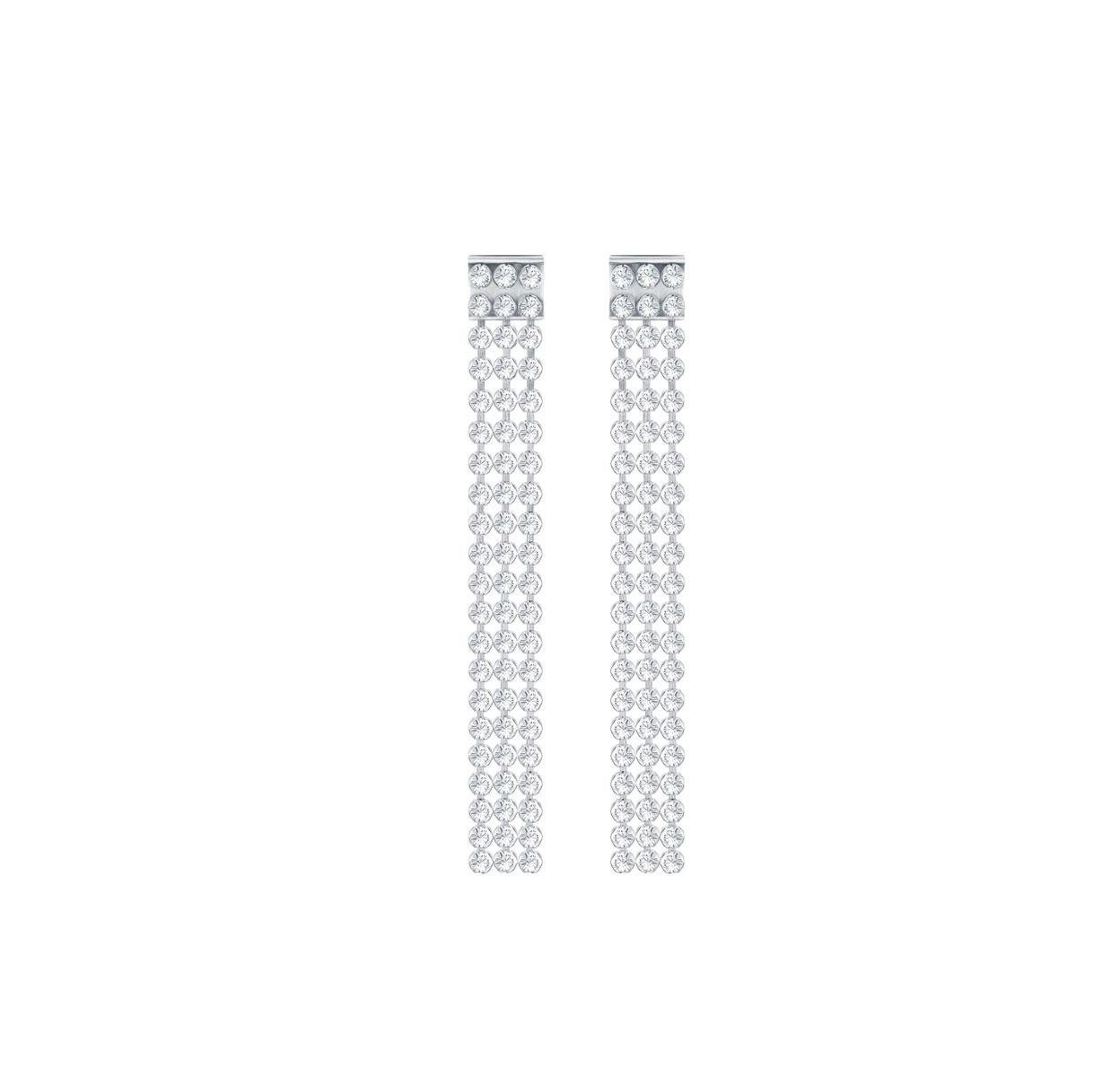Swarovski Fit Long Pierced Earrings, White, Palladium Plating