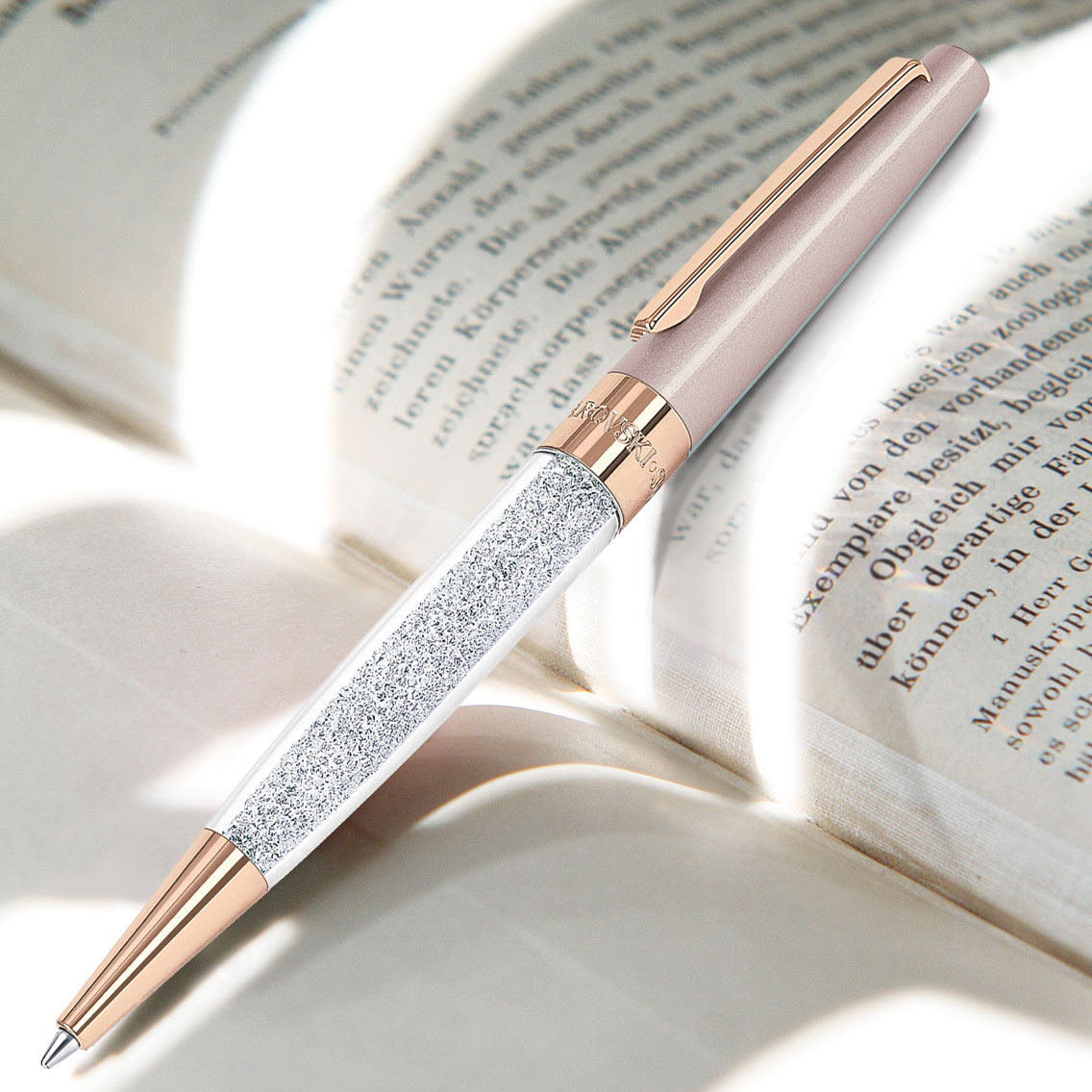 Swarovski Crystalline Stardust Ballpoint Pen, Vintage Rose Rose Gold Plated