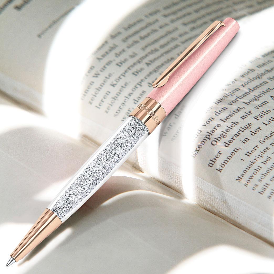Swarovski Crystal, Stardust Pink and Rose Gold Ballpoint Pen