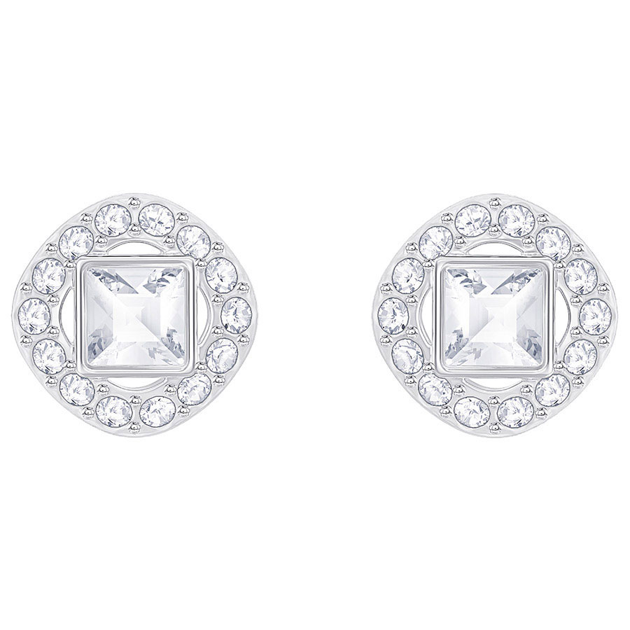 Swarovski Angelic Square Pierced Earrings, White, Rhodium
