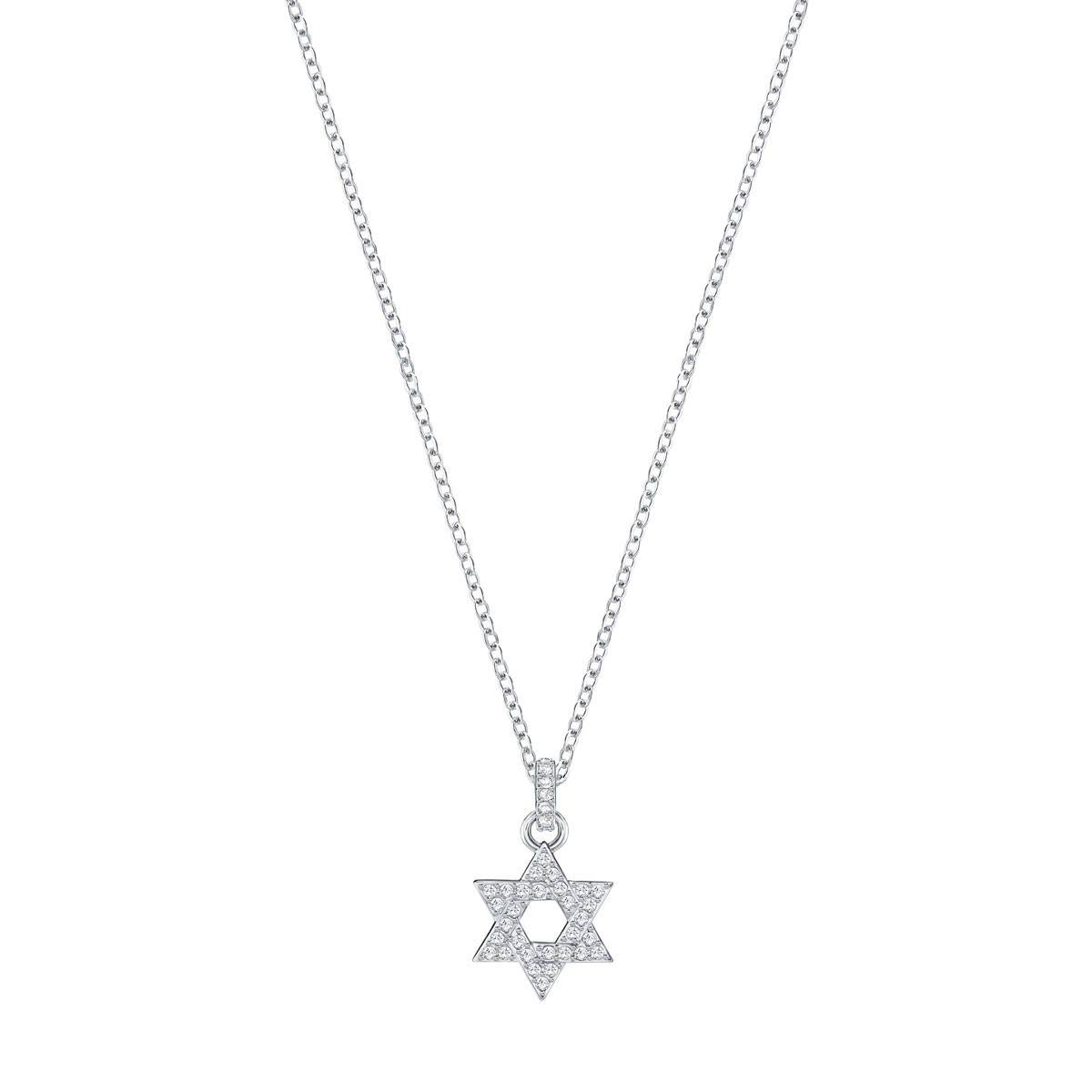 Swarovski Star David Pendant, White, Rhodium