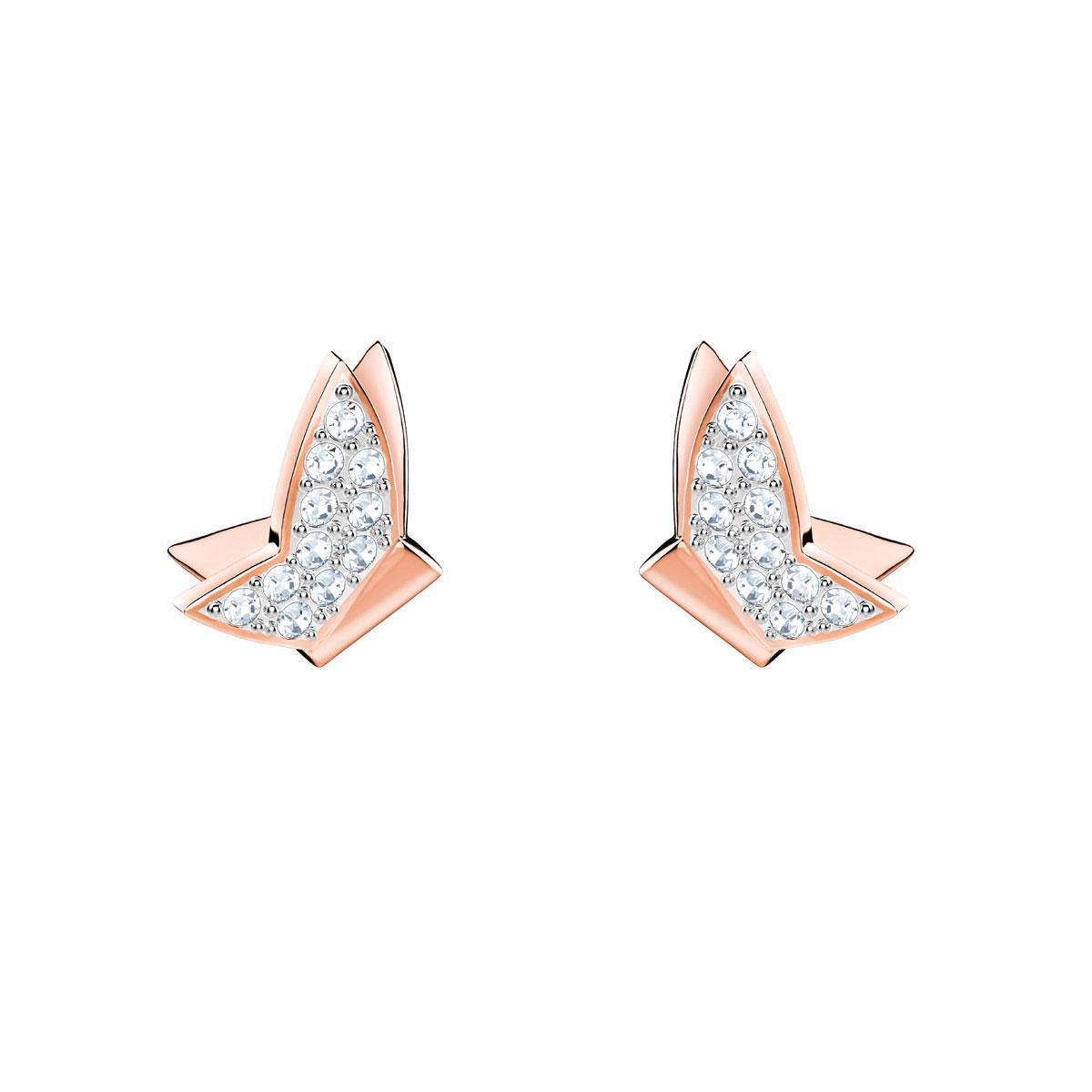 Swarovski Lilia Pierced Earrings, White, Rose Gold