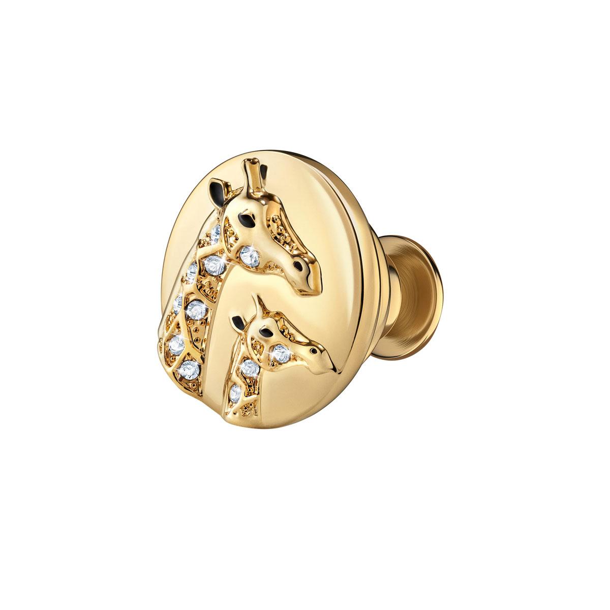 Swarovski Crystal and Gold Giraffe Tack Pin