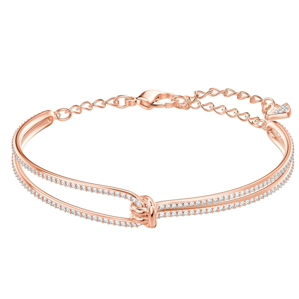 Swarovski Lifelong Bangle, White, Rose Gold