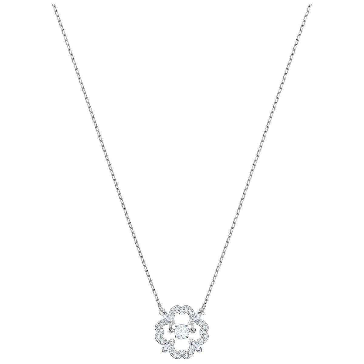 Swarovski Sparkling Dance Flower Crystal Rhodium Pendant Necklace