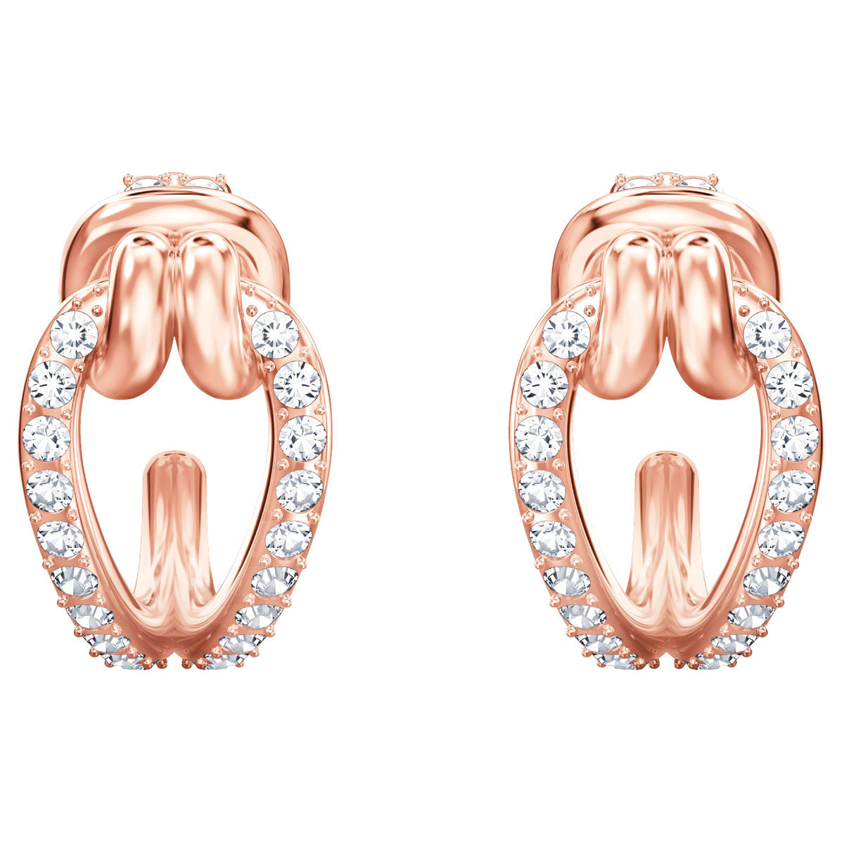 Swarovski Lifelong Hoop Pierced Earrings, White, Rose Gold