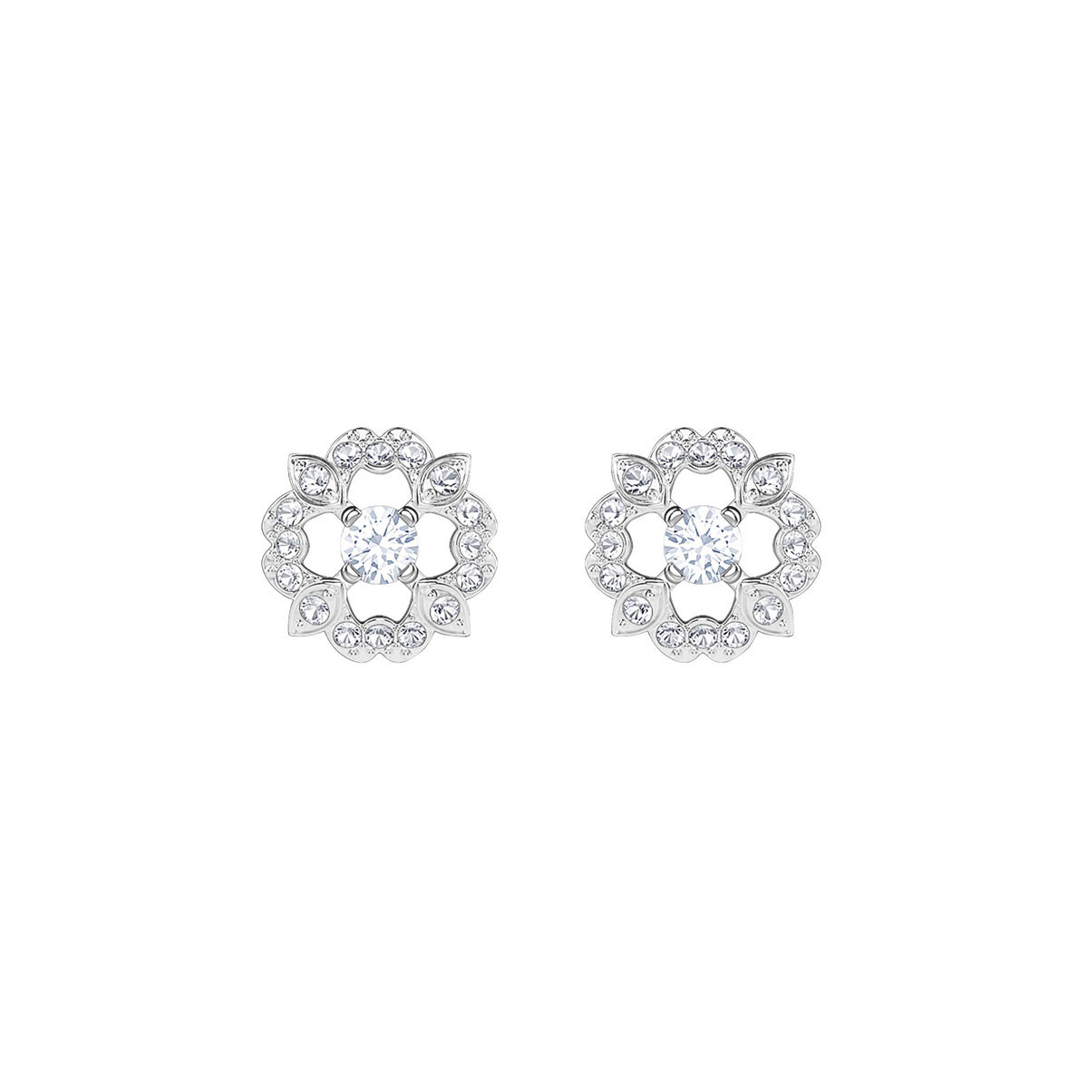 Swarovski Sparkling Dance Flower Pierced Earrings, White, Rhodium
