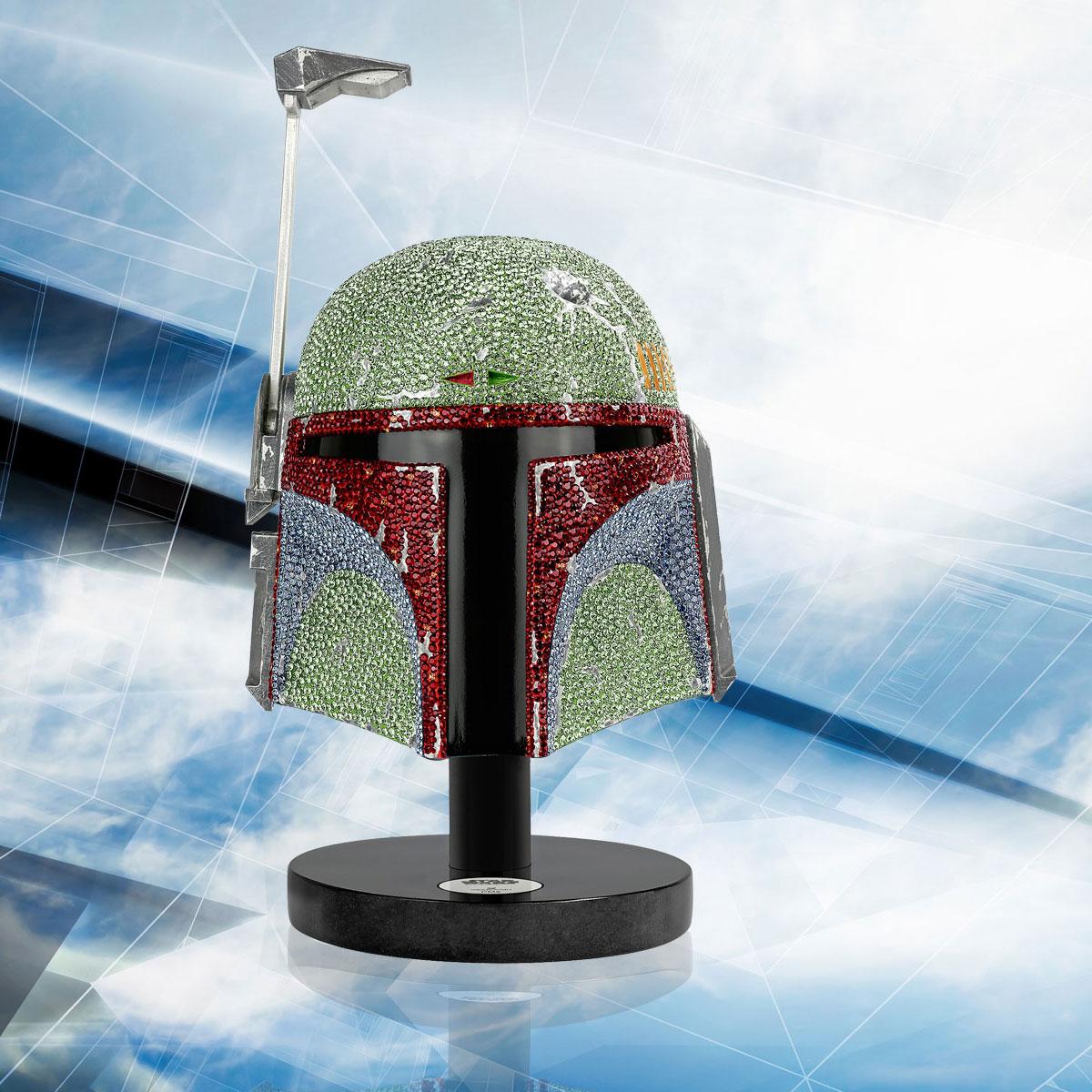 Swarovski Crystal Star Wars Boba Fett Helmet Myriad Limited Edition Sculpture