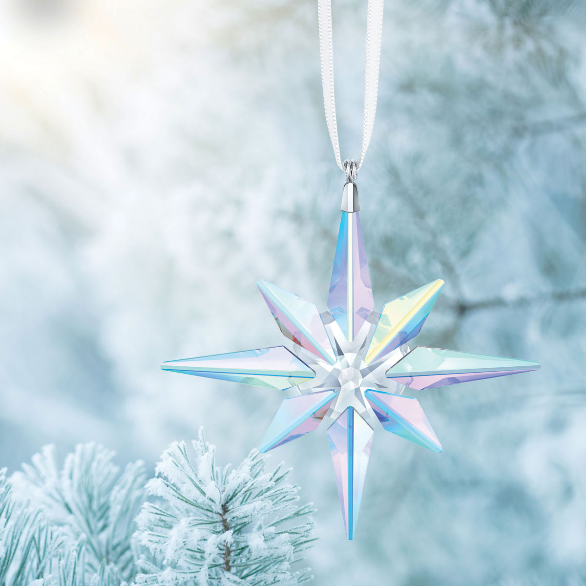 Swarovski Large Aurora Borealis Star Christmas Ornament