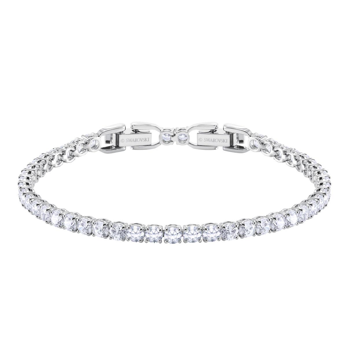 Swarovski Tennis Deluxe Bracelet, White, Rhodium