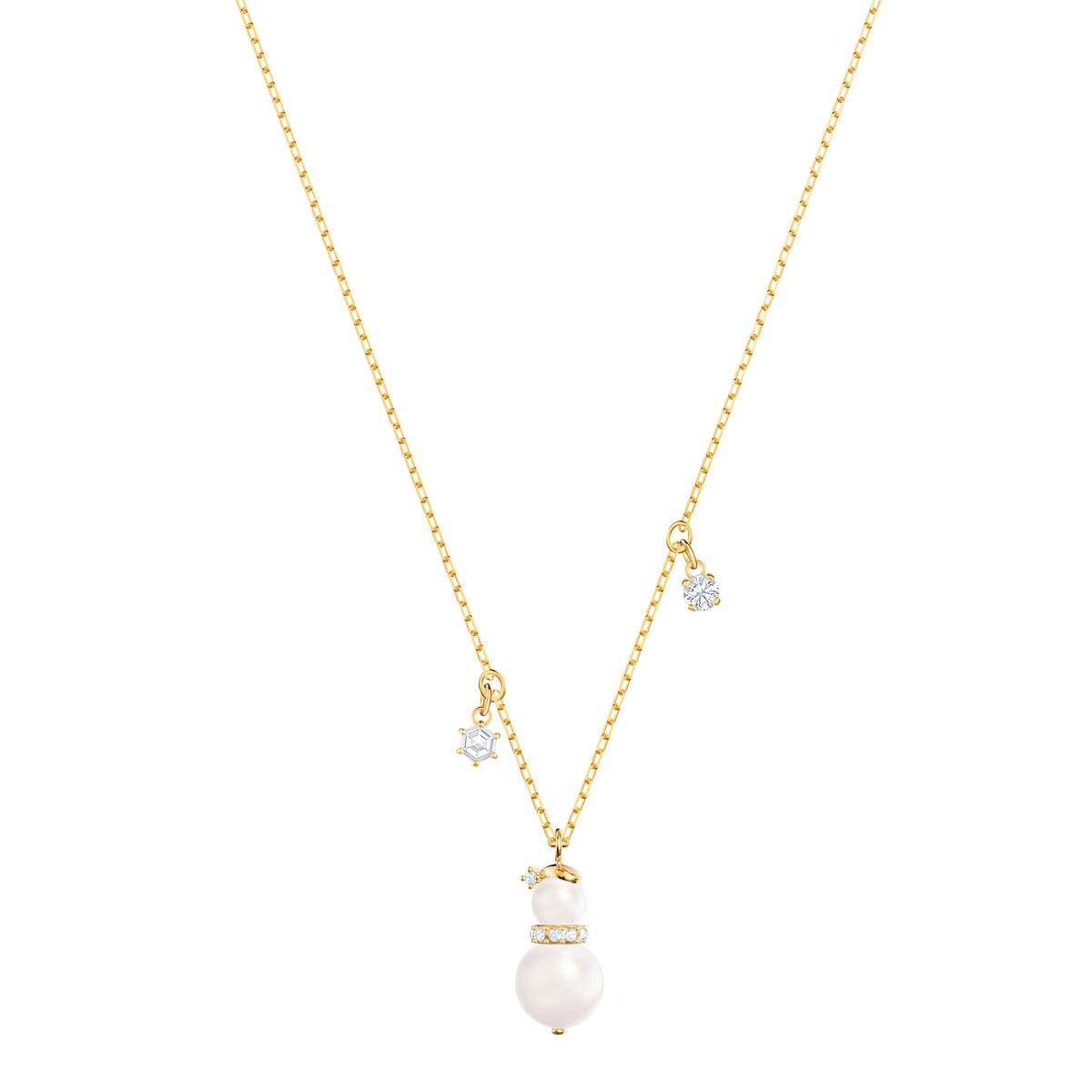 Swarovski Little Snowman Pendant, White, Gold