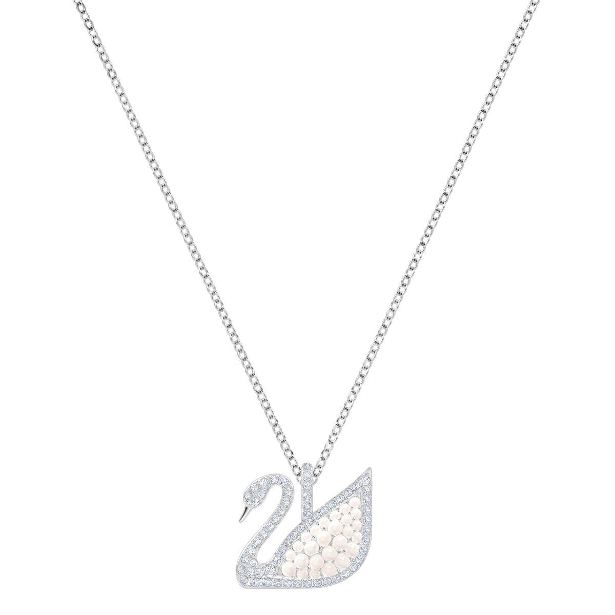 Swarovski Crystal and White Rhodium Iconic Swan Pendant Necklace