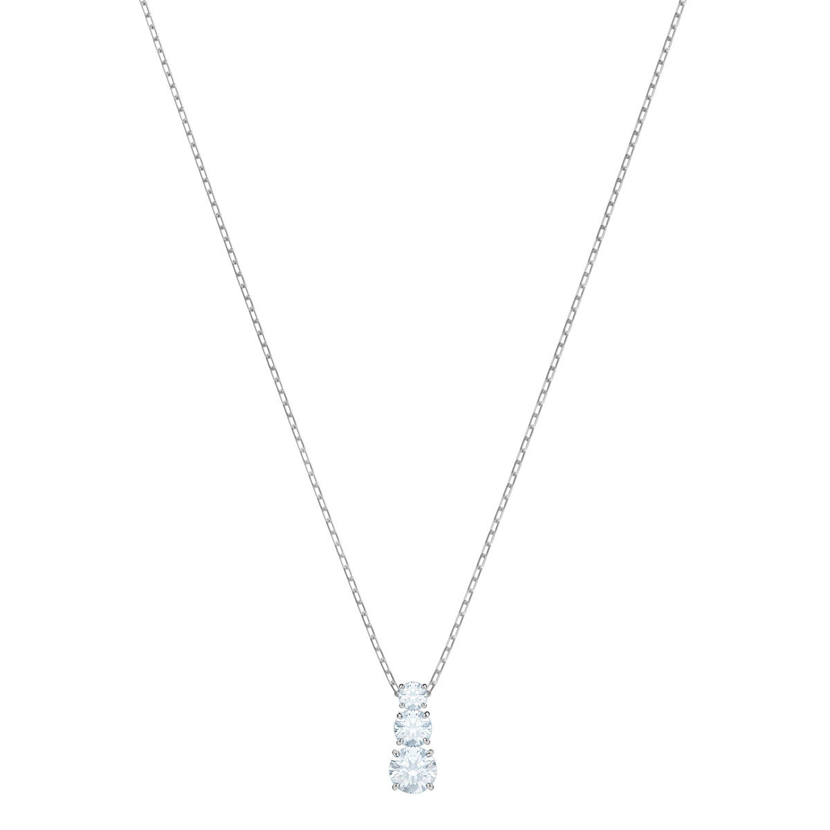 Swarovski Attract Trilogy Round Crystal and Rhodium Pendant Necklace