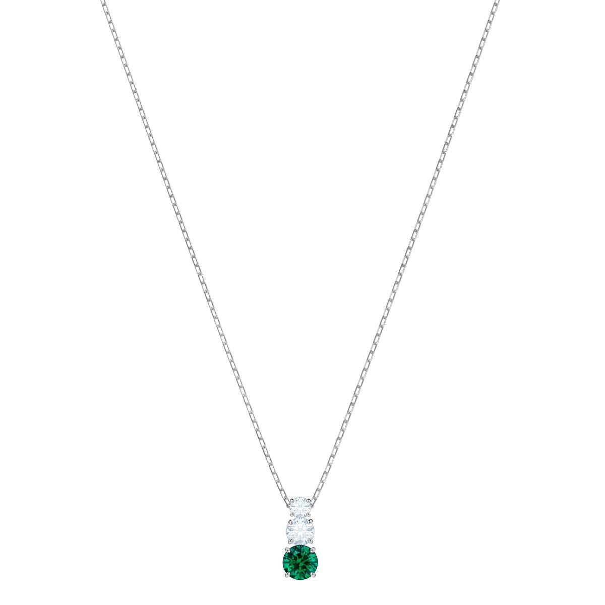 Swarovski Attract Trilogy Round Pendant, Green, Rhodium