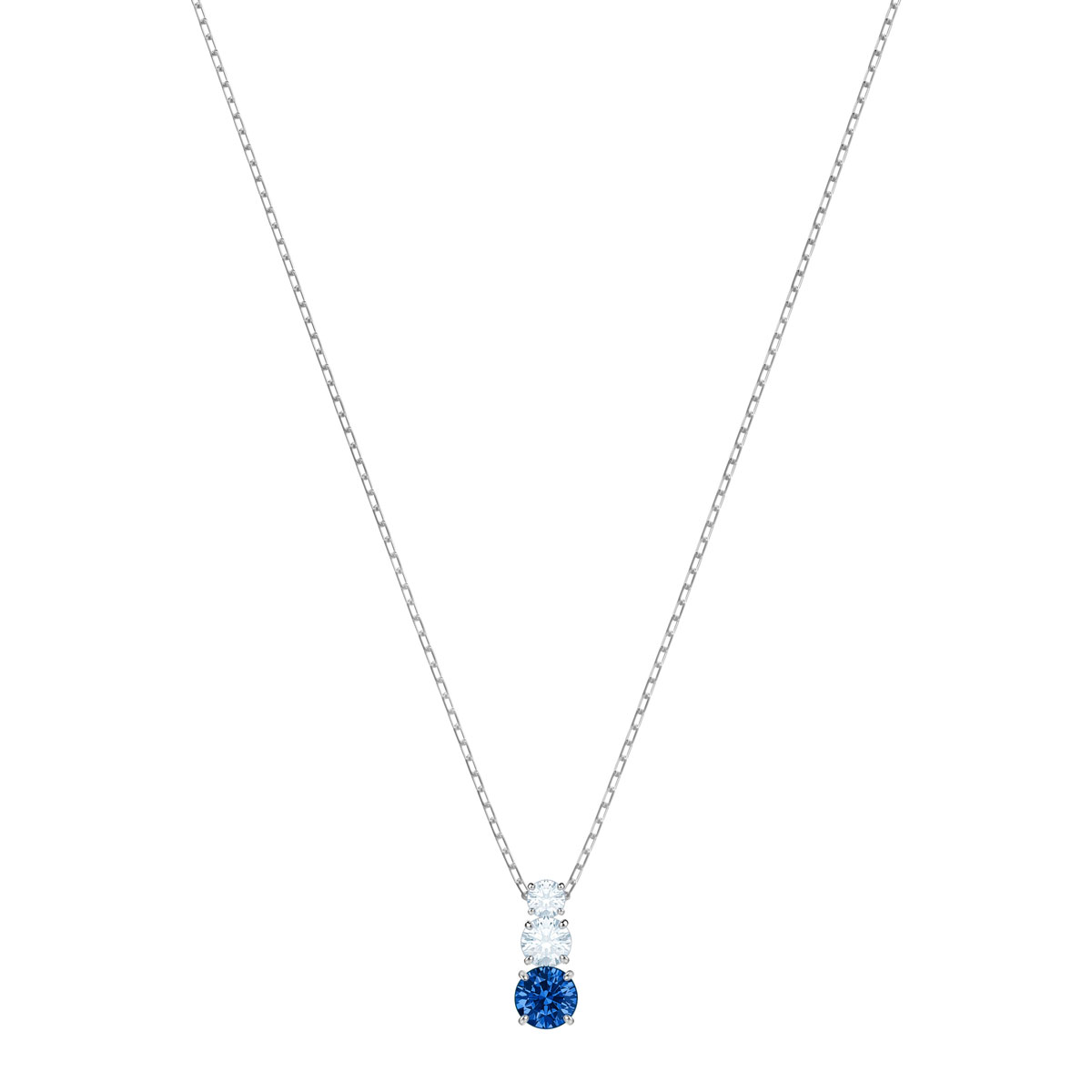 Swarovski Attract Trilogy Round Pendant, Blue, Rhodium