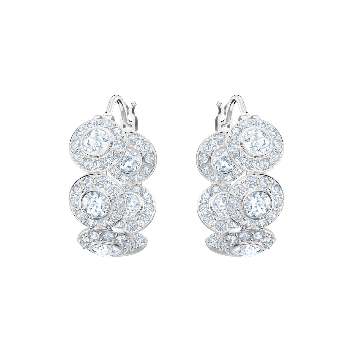 Swarovski Angelic Crystal and Rhodium Hoop Pierced Earrings Pair