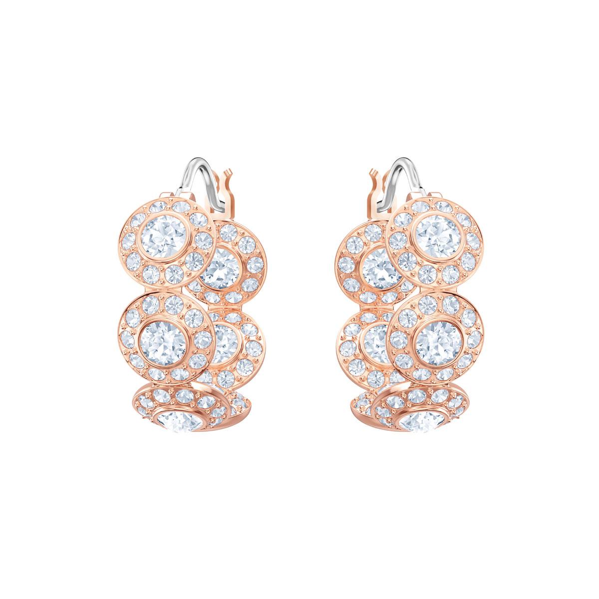 Swarovski Angelic Crystal and Rose Gold Hoop Pierced Earrings Pair