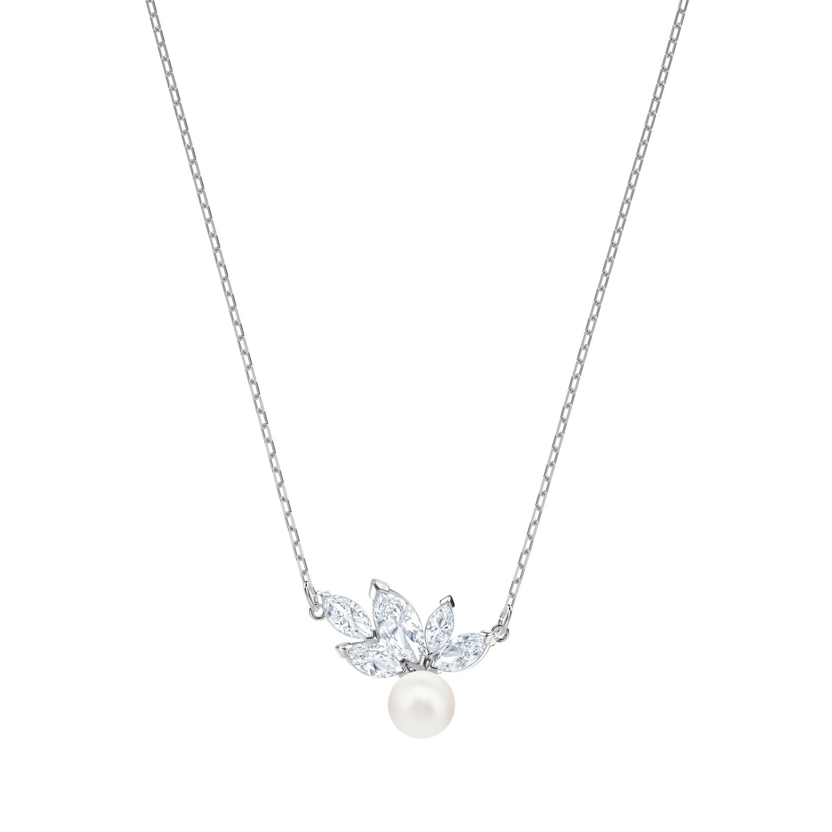 Swarovski Louison Pearl, Crystal and Rhodium Pendant Necklace