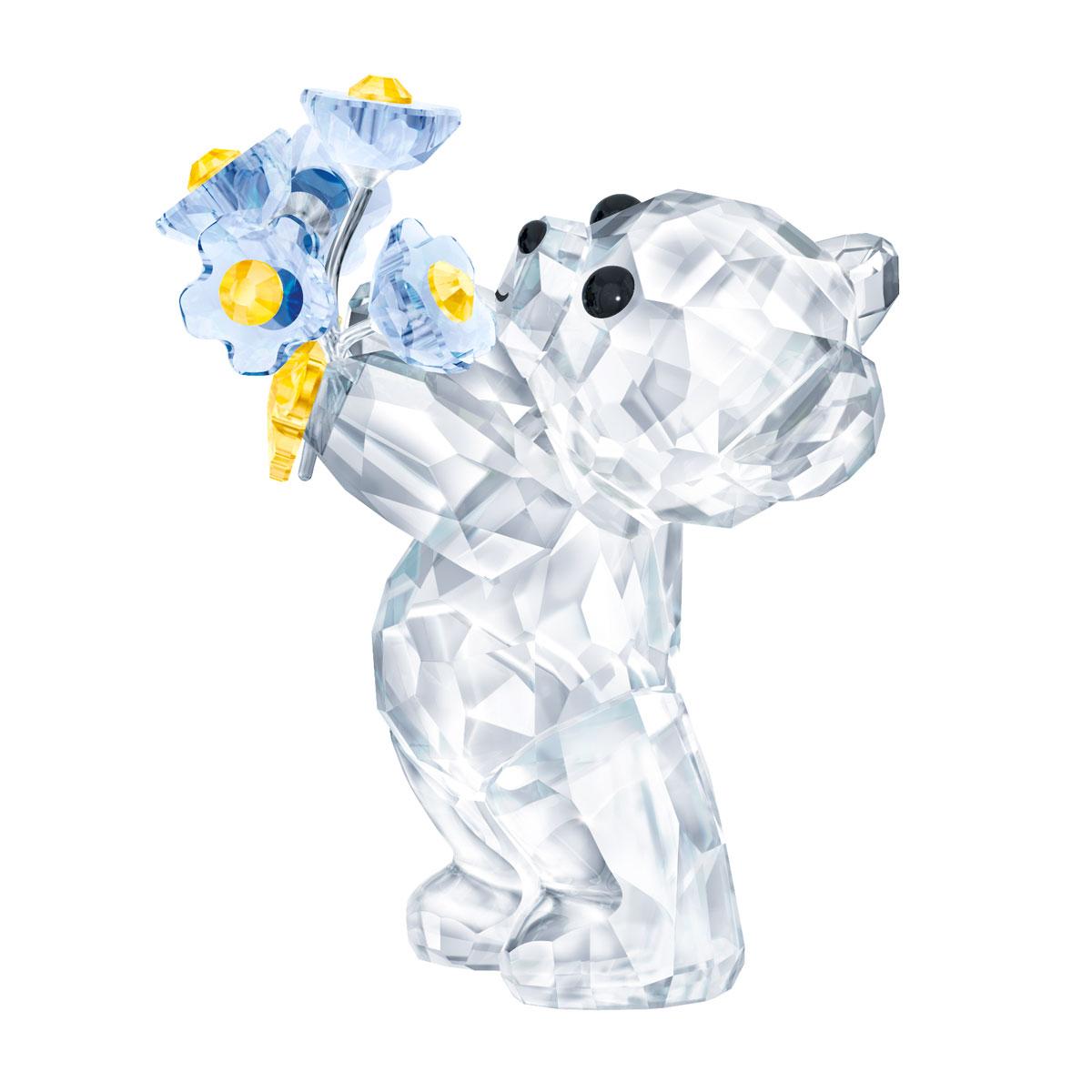 Swarovski Crystal Kris Bear with Forget-Me-Nots
