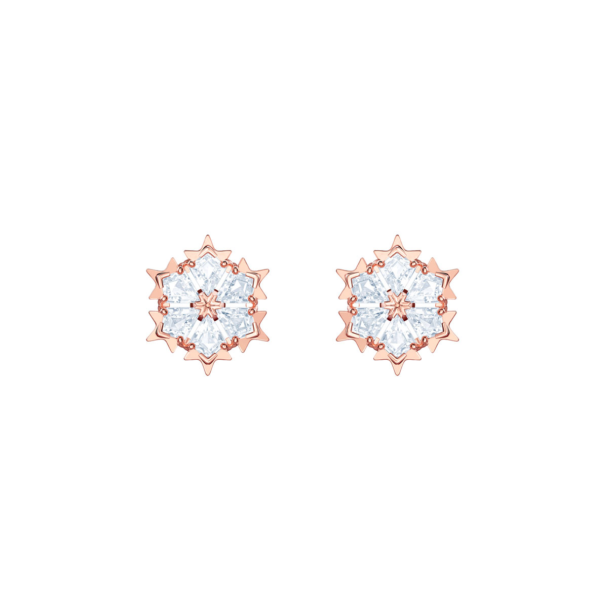 Swarovski Magic Crystal and Rose Gold Snowflake Pierced Earrings Pair