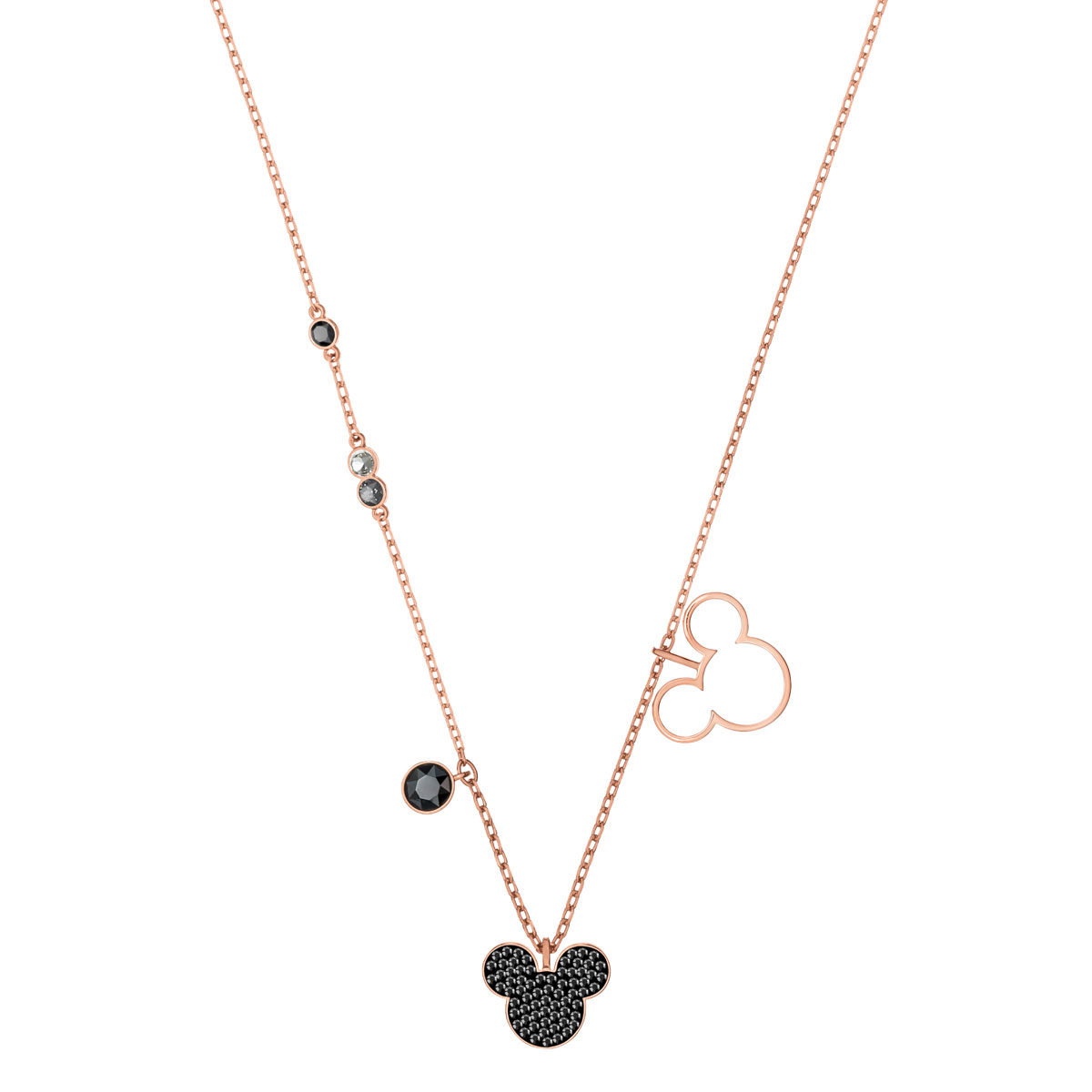 Swarovski Disney Mickey and Minnie Multi Colored Rose Gold Pendant Necklace