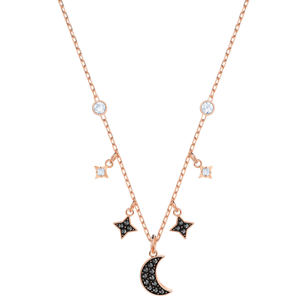 Swarovski Black Crystal and Rose Gold Symbolic Moon Necklace