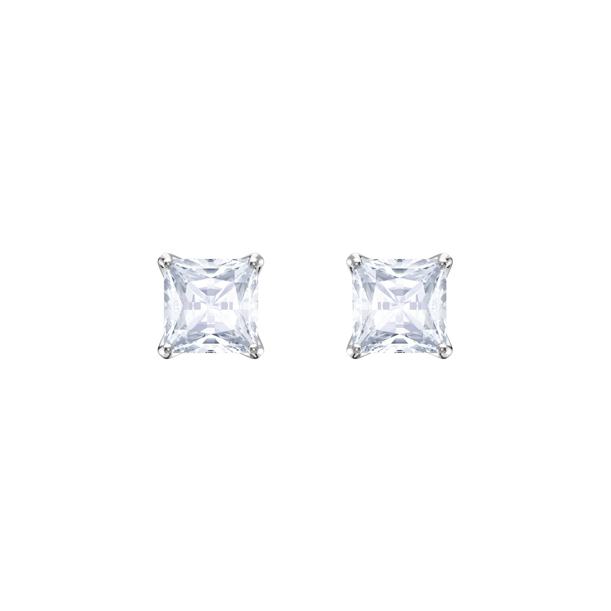 Swarovski Attract Stud Pierced Earrings, White, Rhodium