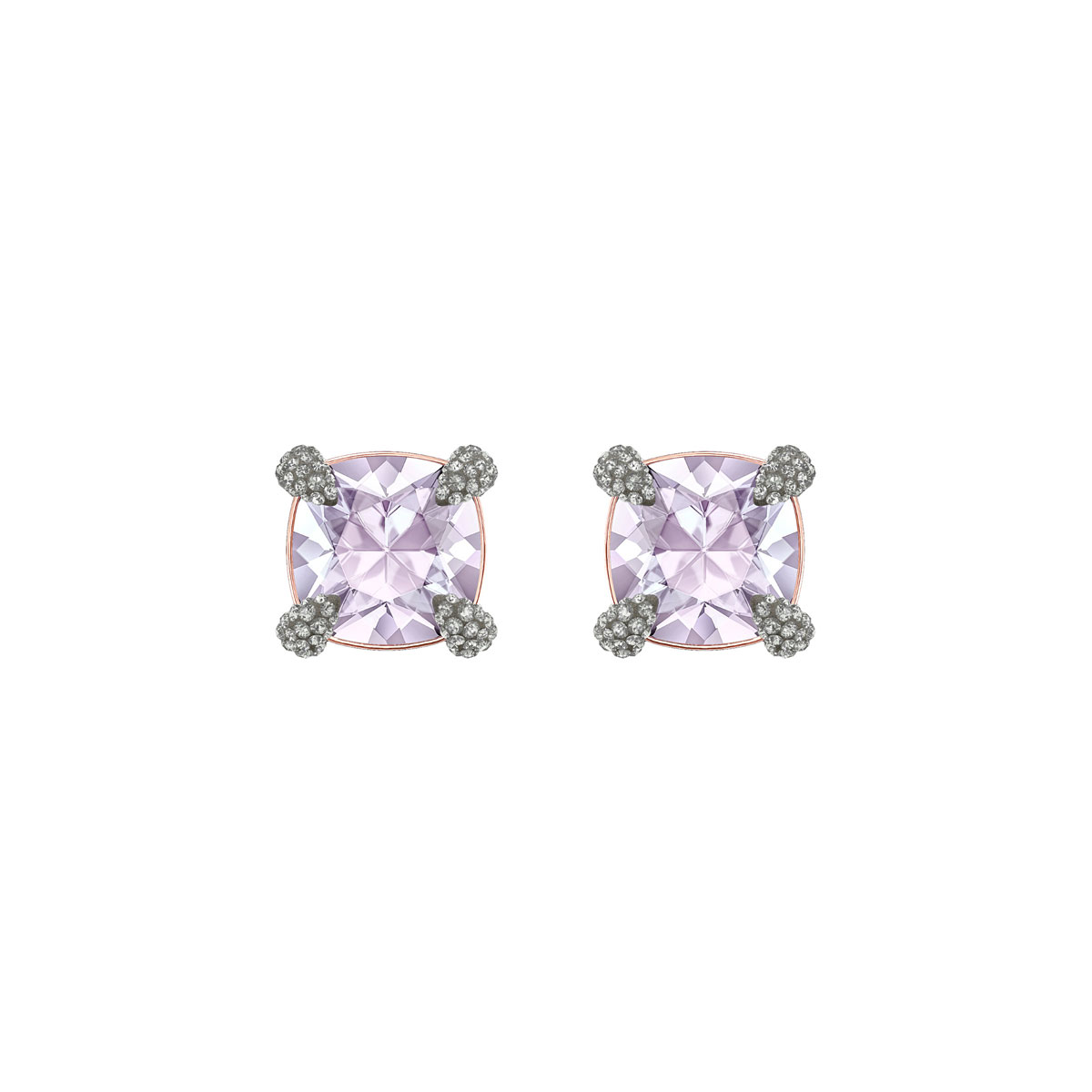 Swarovski Make Pierced Earrings, Violet, Rose Gold