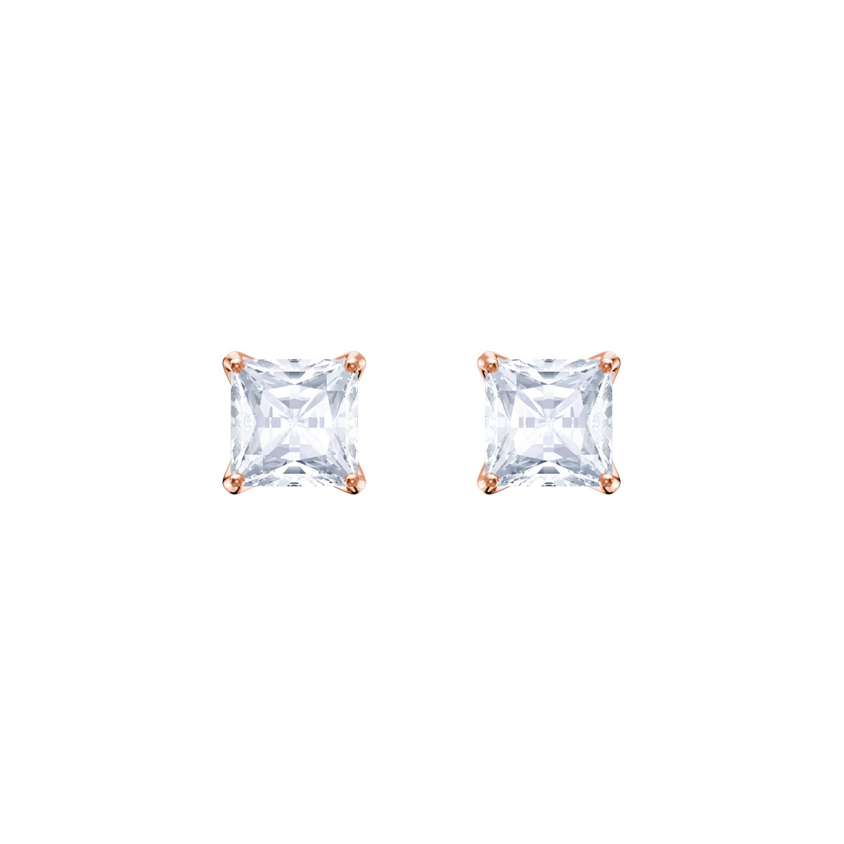 Swarovski Attract Stud Pierced Earrings, White, Rose Gold
