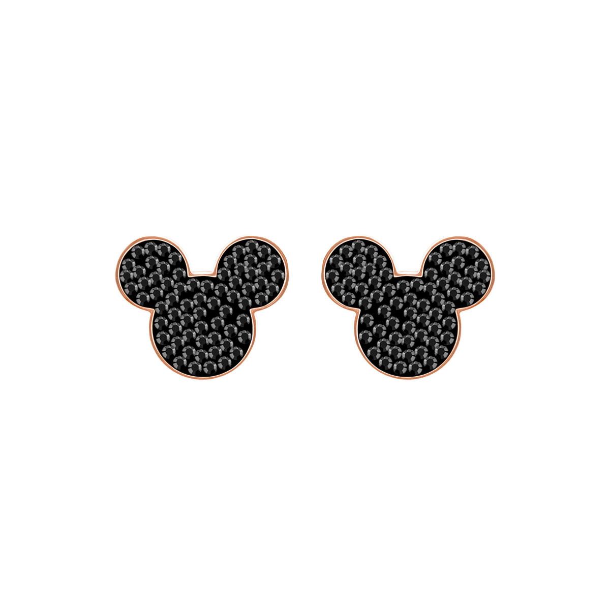 Swarovski Mickey and Minnie Pierced Earrings, Black, Rose Gold