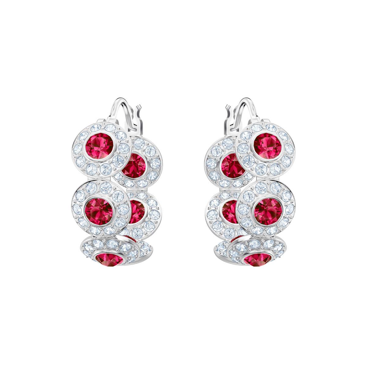 Swarovski Angelic Hoop Pierced Earrings, Red, Rhodium