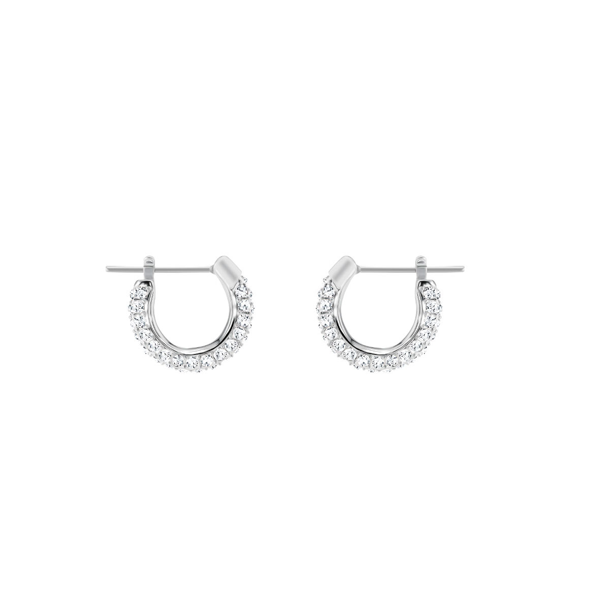 Swarovski Stone Pierced Earrings, White, Rhodium