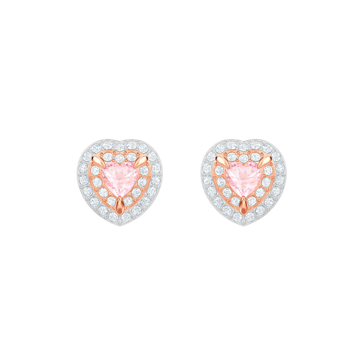 Swarovski One Stud Pierced Earrings, Multi Colored, Rose Gold