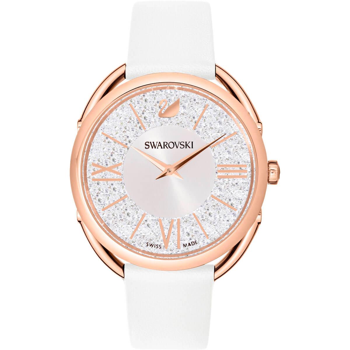 Swarovski Crystalline Glam Watch, Leather Strap, White, Rose Gold