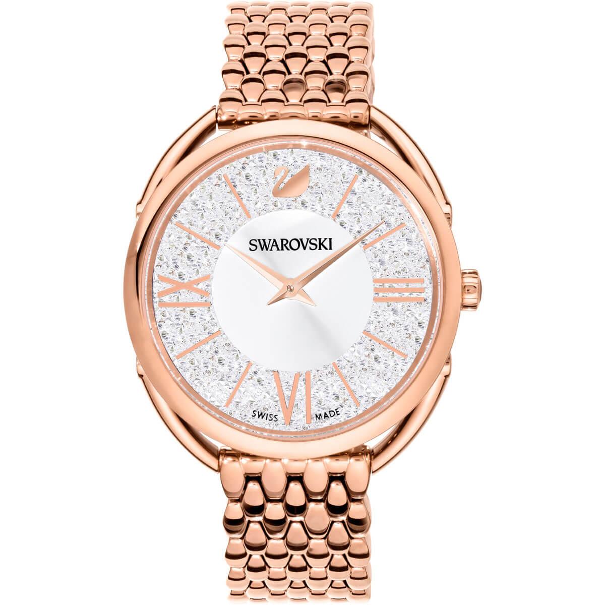 Swarovski Crystalline Glam Watch, Metal bracelet, White, Rose Gold