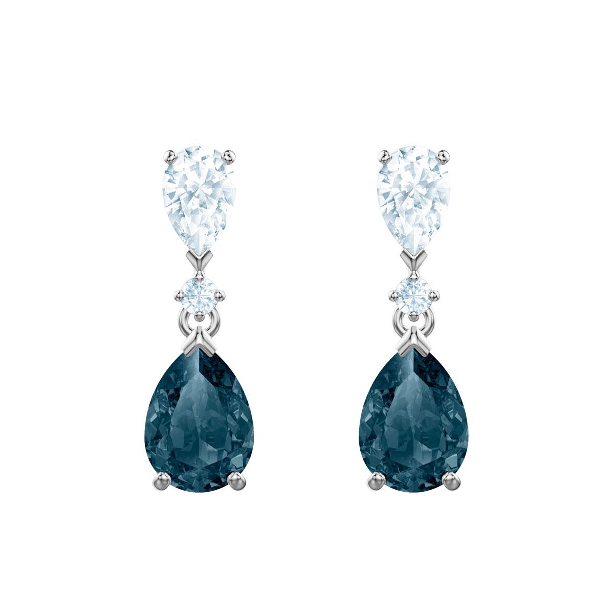 Swarovski Vintage Pierced Earrings, Blue, Rhodium