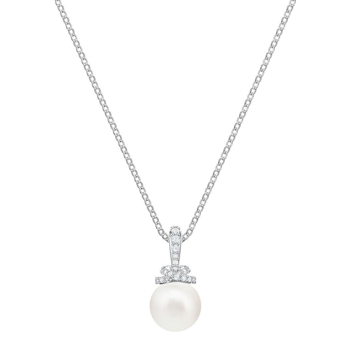 Swarovski Pearl and Rhodium Originally Pendant Necklace
