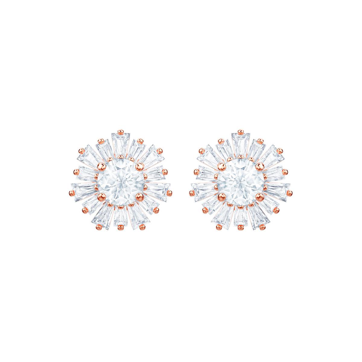 Swarovski Sunshine Pierced Earrings, White, Rose Gold