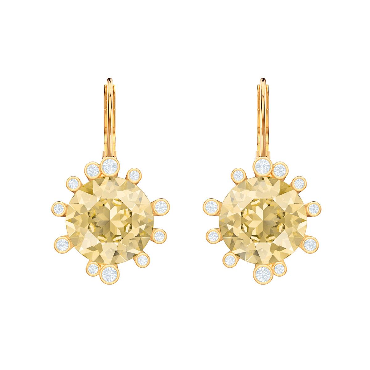 Swarovski Olive Pierced Earrings, Multi Colored, Gold
