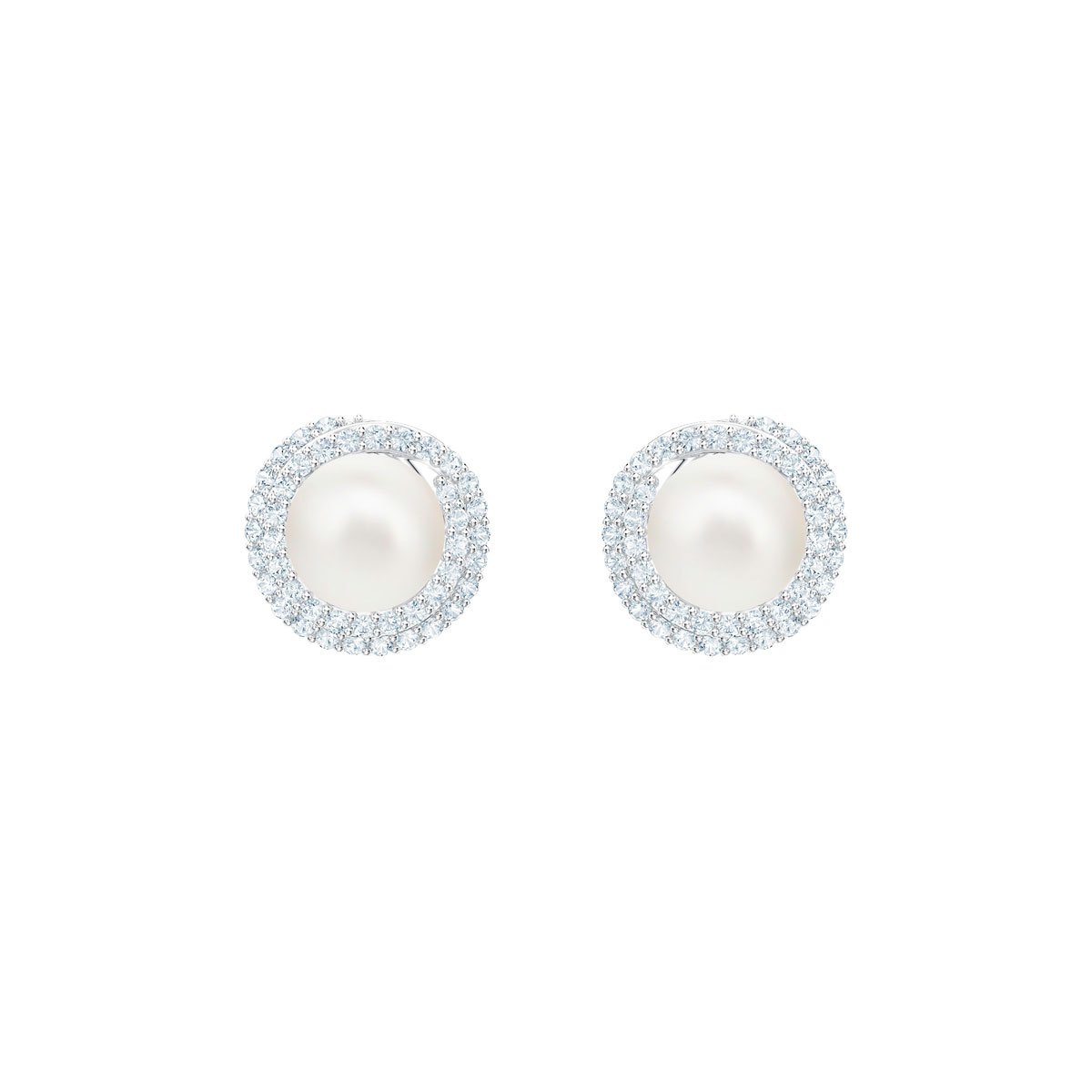 Swarovski Originally Pierced Earrings, White, Rhodium