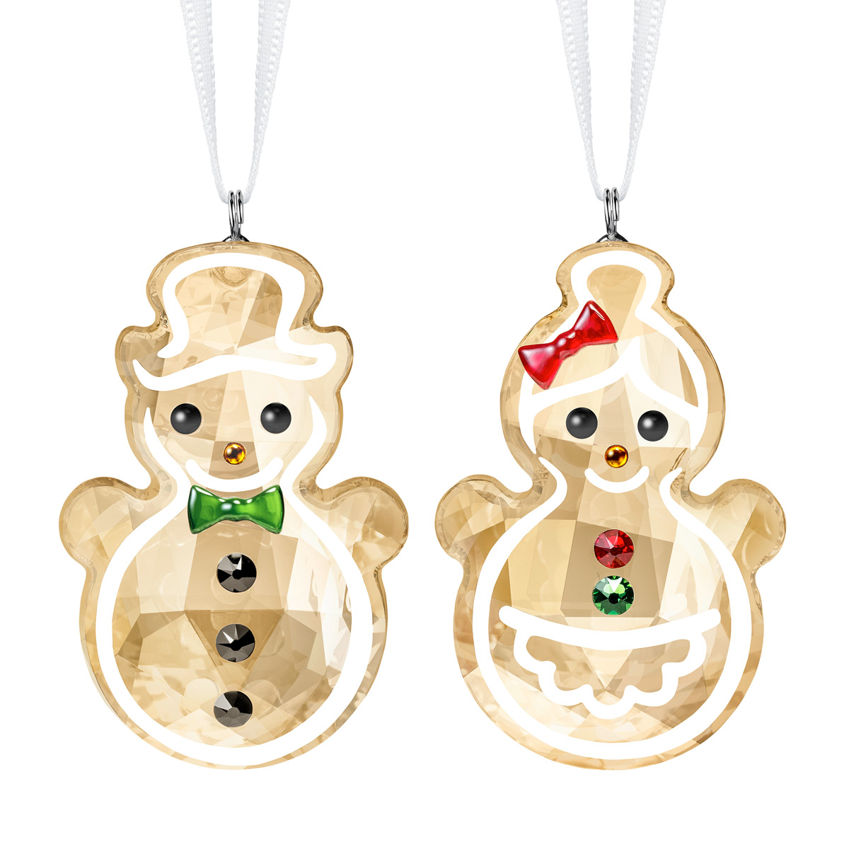 Swarovski Gingerbread Snowman Couple Ornament
